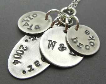 Silver Family Necklace | Custom Name Charms | Hand Stamped Personalized 925 Sterling Silver Antiqued by E. Ria Designs