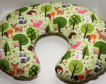 Boppy Nursing Pillow Cover: Baby Woodland Animals on Green