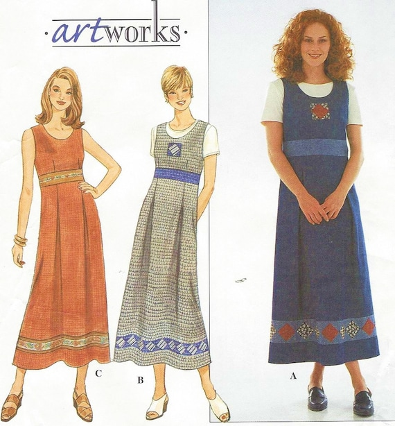 90s Womens Empire Waist Dress or Jumper and Knit Top Simplicity ...