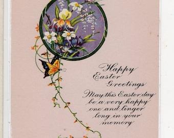 Easter vintage postcard, Easter Greetings  Vintage Postcard , butterflies, flowers, Easter ephemera, Easter postcard