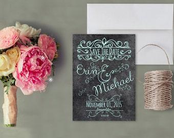 "Chalkboard Save The Date Cards in Robin Egg Blue / Shabby Chic Weddings Chalkboard Weddings / PRINTED 5x7 """