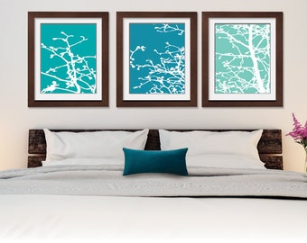 Cherry Blossom Tree Branches (Series C) Set of 3 - Art Prints (Featured in Ocean Blue, Atlantic and Robins Egg)