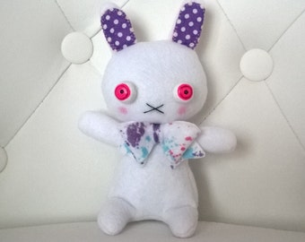 FREE US SHIPPING Cute White and Purple Bunny Rabbit with Red Eyes Plush Softie Stuffed Animal Plushie Gift Easter Ooak Soft