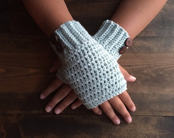 Mint crocheted women's fingerless gloves, ceicheted hand warmers