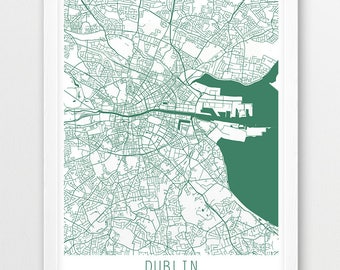 Dublin City Urban Map Poster, Dublin Street Map Print, Dublin Ireland White Green, Modern Wall Art, Home Decor, Travel Poster, Printable Art