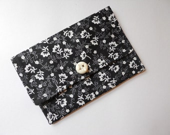 Small Wallet Business Card Wallet Gift Card Holder Black White Floral
