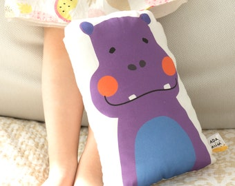 Pillow with a hippo. Pillow for babies. Cuddly toy. Cotton and hypoallergenic filling.