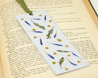 Bookmark, Handmade Paper, Pressed Flowers, Light Blue Bookmark, Bookmark Accessory, Mother's Day Gift, Page Keeper, Laminated Bookmark
