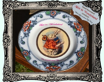 Sold Decorated  / Mad hatter Tea Party / Alice in Wonderland/Up-cycled dinner plate / White Rabbit / handmade