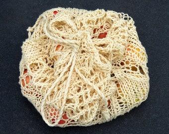 Knitting Pattern: Spring Leaves Market Bag -- Instant PDF Download.  Drawstring Market Bag Pattern. For Worsted or Aran Yarn