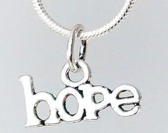 Hope Charms with Jump Rings - 10 / 25 / 50 pc - Perfect For Breast Cancer Awareness Jewelry - Silver Tone