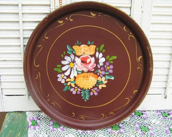 Vintage Tole Tray Hand Painted Multi Color Flowers on Brown Metal Hand Painted Serving Tray Tea Party Cottage Chic Tole Serving Tray