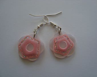 Earrings pink flower with sequin