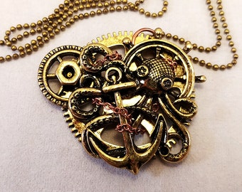 Steampunk Charm Necklace - Gears Anchor Octopus