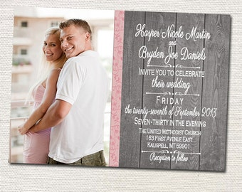 Custom Photo Wedding Invitations- Print your own file or Printed Cards with envelopes
