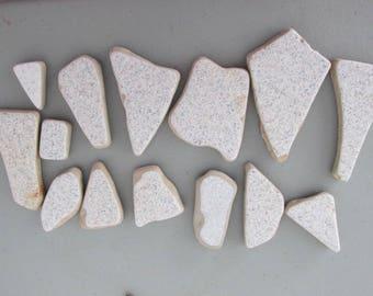 Ceramic Tiles Genuine, Beach Glass Ceramic, Sea Glass, Jewelry Supply Vintage, Pottery Genuine,  Beach Find