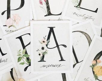 Alphabet Botanical Flash Cards// alphabet garden flowers - girls room decor - stocking filler stuffer - girly - for her- Black Friday -