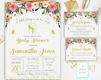 Fairy Baby Shower Invitation, + Book for Baby + Diaper Raffle, Gold Glitter Fairy Floral Invitations, Book for Baby Diaper Raffle PACKAGE