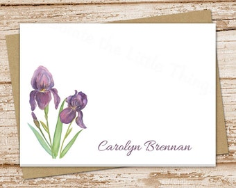 iris personalized note cards . purple iris notecards folded personalized stationery stationary watercolor floral flowers cards . set of 8