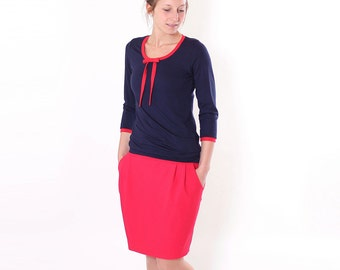 "Pencil Skirt ""frieder"" with waist fold//red"