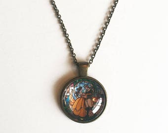 Beauty and the Beast Stained Glass Inspired Pendant Necklace