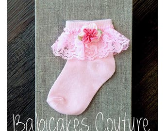 Pink Lace Baby Socks, Baby Girl Socks, Lace Baby Socks, Special Occasion Socks, Couture Baby Socks, Lace Baby Socks, Fancy Pink Baby Socks