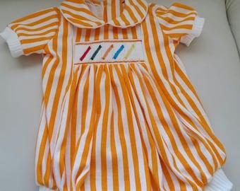 Orange Striped Smocked  Romper For Boy or Girl