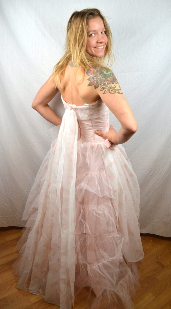 Tulle 1950s Dress Formal Prom Party 50s Pink Bombshell Vintage qBnwx8t5ag