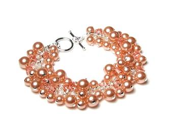 Pink Peach Swarovski Crystal & Pearl Cluster Charm Bracelet, Spring Jewelry, Wedding, Bridal Fashion, Bridesmaid Gifts, Silver Bead Bracelet
