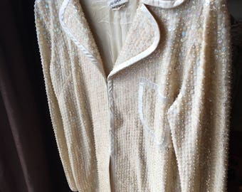 Vintage Saks Fifth Avenue Sequin Blazer, Evening Wear, Sequin Beaded Jacket, High Fashion, Holiday Party, New Year Eve Fashion,
