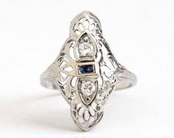 Sale - Antique Shield Ring - 18K White Gold Created Sapphire & Diamond Filigree - Art Deco 1930s Double Diamond Blue Gemstone Fine Jewelry