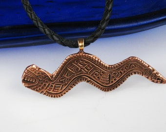 Aztec Serpent Pendant - Copper Necklace - Mayan Shaman Tribal Serpent Copper Pendant - Shaman Tribal Serpent Copper Necklace -Pendant Gift