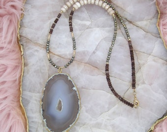 Brown and Purple Necklace | Brown Necklace | Neutral Necklace | Cream Necklace | Agate Necklace | Purple Necklace