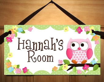 DOOR SIGN Owls Love Flowers Girls Bedroom and Baby Nursery Kids Bedroom Wall Art DS0019