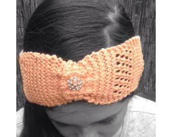 Organic Cotton Peach Headband - Hand Knit Eco Friendly Headband - Soft Natural Headband