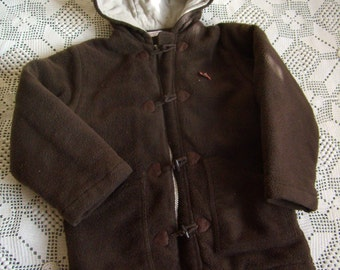 8 duffel coat, fleece coat with hood, boy or girl, Brown faux fur, french Vintage