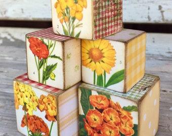 Vintage Botanical Illustration Art Blocks, Mother's Day Gift, French Country, Centerpiece Vignette, Shelf Sitter, Red Floral, Cottage Decor