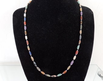 Semi-precious stones & sterling silver with tube shape beads