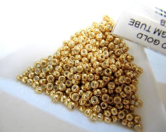 Miyuki Size 8, Glass Seed Beads, 22 Grams Tube, Galvanized Gold, Round, Japanese Beads, Wire Wrapping, Bead Embroidery, #8-91052-TB