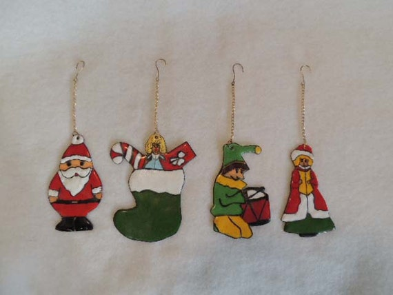 Set Of 4 Vintage Hand Made Enamel On Copper CHRISTMAS TREE ORNAMENTS.. Santa, Stocking, Elf, Caroler