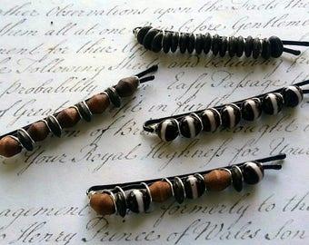 4 piece set Bohemian style beaded hair pins