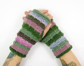 knit fingerless gloves knitted arm warmers banded  knitted fingerless mittens color block gloves in pink and green PiaBarileAccessories