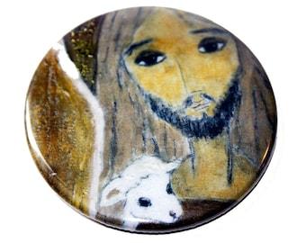 The Good Shepherd - Pocket Mirror- Original Art by Flor Larios