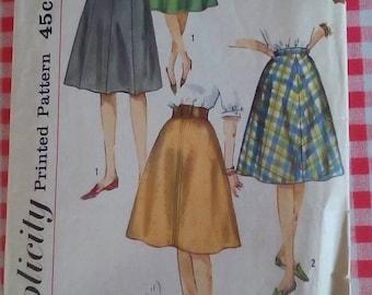 "1960s Skirt - 26"" Waist - Simplicity 4555 - Vintage Retro Sewing Pattern"