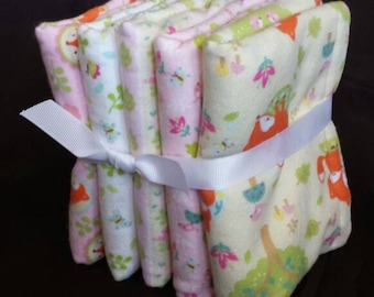 Burp Cloths - Set of 5 or Set of 3 - Pink Fox and Birds