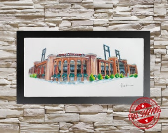 Busch Stadium st louis cardinals Poster Man Cave Art Print cardinals gift for men, cardinals baseball,  baseball gifts , cardinals fan gift