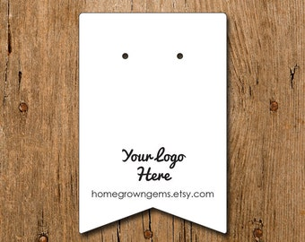 Pennant Flag Rectangle Customized Earring Cards with Your Logo Image Necklace Price Tags Hang Tags Thank You Hair Clips Product