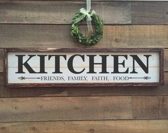 Kitchen sign, framed shiplap, vintage Home Decor