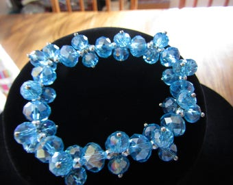 Gorgeous Light Blue Crystal Chunky Bracelet Stretchable #75