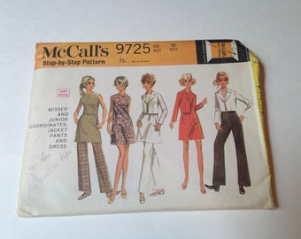 Vintage 1960s Cut McCalls 9725 Jacket Pants and Dress Pattern Size 10 Bust 32 1/2